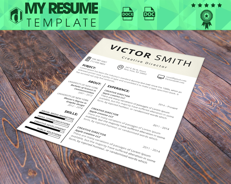 my free resume template