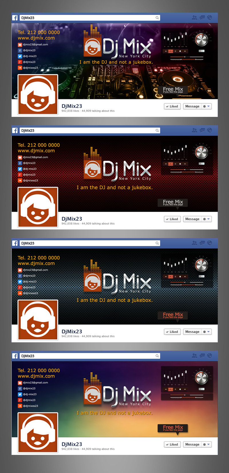 Professional facebook cover for djs