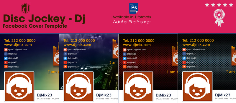 free premium facebook fanpage cover for professional disc jockey (DJ)