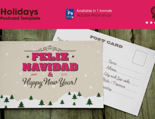 Free holidays postcard template
