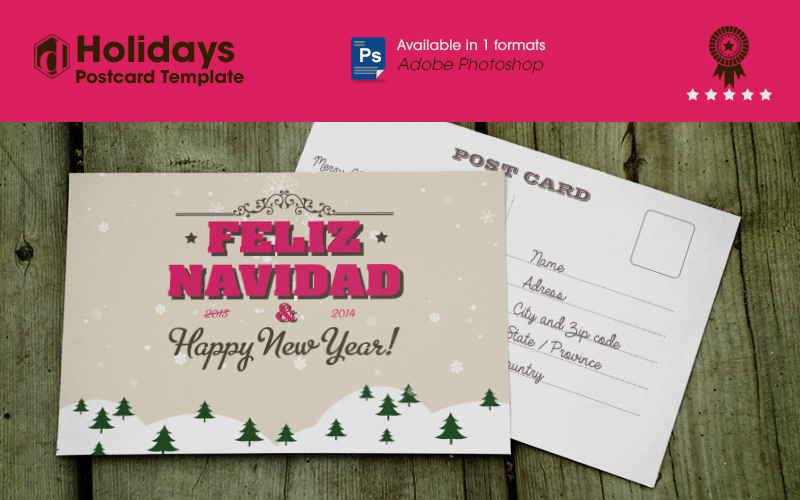 Free holidays postcard template